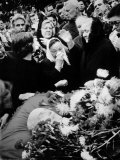 Mourners Grieving at the Funeral of Russian Leader Nikita Khrushchev Premium Photographic Print