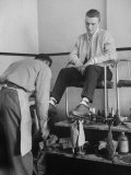 Teenager Getting Shoes Shined Premium Photographic Print by Nina Leen