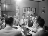 University of Michigan Medical School Students Playing a Game of Poker after Classes Premium Photographic Print by Alfred Eisenstaedt