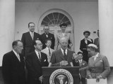 Pres. Dwight D. Eisenhower Presenting a Citation to Dr. Jonas E. Salk Premium Photographic Print