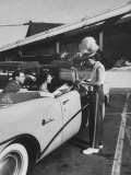 Carhop Taking an Order from Customers at a Hollywood Drive-In Restaurant Photographic Print by Alfred Eisenstaedt