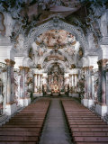 Lavishly Decorated Interior of the 18th Century Benedictine Rococo Monastery, Church of Zwiefalten Premium Photographic Print by Dmitri Kessel