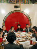 Chinese Family During Dinner at a Traditonally Decorated Restaurant Premium Photographic Print