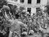 Vietminh Troops Celebrating after Turnover of Power by the French Premium Photographic Print