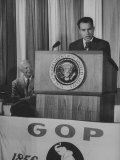 Vice Pres. Richard M. Nixon Speaking at a Gop Rally as Pres. Dwight D. Eisenhower Looks On Premium Photographic Print by Ed Clark
