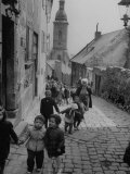 Nursery School Children in Route to Play Ground Premium Photographic Print