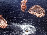 Apollo 15 Splashing Down in Pacific Ocean W. Parachutes Trailing Behind Premium Photographic Print