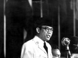 Indonesia's Pres. Sukarno Addressing the Bandung Conference Premium Photographic Print by Lisa Larsen