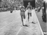 Runner John Landy, Breaking the 4 Minute Mile Premium Photographic Print by Allan Grant