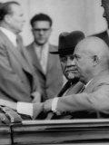 Nikita S. Khrushchev, Driving in Car with Nikolai Bulganin, During Geneva Conference Premium Photographic Print