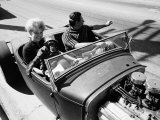 Robert Davis with His Wife and Pet Chimpanzee Out for a Drive Premium Photographic Print by Ralph Crane