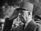 French Pres. Charles De Gaulle Wearing His Military Uniform and Saluting Premium Photographic Print