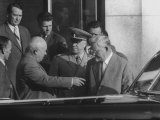 Nikita S. Khrushchev, Nikolai Bulganin and Georgy K. Zhukov, During Geneva Conference Premium Photographic Print