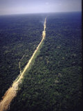 Aerial View of Dirt Raod That Is to Become Part of Transamazon Highway Premium Photographic Print by John Dominis