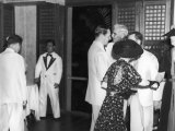 General Douglas Macarthur and His Wife Greeting the Us High Commissoner at a Formal Affair Premium Photographic Print