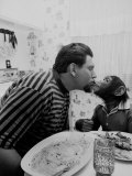 James Davis Kissing His Pet Chimpanzee Premium Photographic Print by Ralph Crane