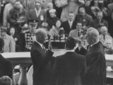 Pres. Dwight D. Eisenhower, Taking the Oath of Offace as it Is Given to Him by Earl Warren Premium Photographic Print by Ed Clark