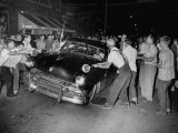 Crowd Attacking Cars Driven by African Americans to Protest Integration in the Schools Premium Photographic Print