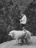 Billy Graham with His Son and the Family's Dog Premium Photographic Print by Ed Clark