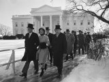 New Pres. John F. Kennedy and Wife Jacqueline Kennedy and Others Walking to His Inauguration Premium Photographic Print