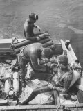 Divers Preparing to Dive to the Sunken Liner Andrea Doria Premium Photographic Print by Peter Stackpole