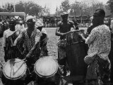 Men Playing Drums During the Independence Ceremonies Premium Photographic Print