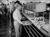 Children Receiving Food at the School Cafeteria Premium Photographic Print by Ed Clark