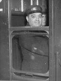 Nyc Mayor Fiorello Laguardia Wearing Motorman's Cap and Looking Out Window on Subway Photographic Print