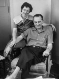 Senator Lyndon B. Johnson Sitting with His Wife at Hospital after His Heart Attack Premium Photographic Print