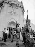 Rifle Toting National Guardmen Exit Attica Prison after Putting Down an Inmate Revolt Premium Photographic Print