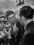 Tv News Caster, Douglas Edwards, Interviewing Sen. John F. Kennedy, at the Democratic Convention Premium Photographic Print