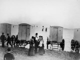 Bathing Machines. 1890. England Premium Photographic Print