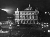Exterior of the Paris Opera House at Night Premium Photographic Print
