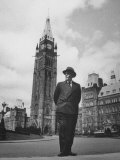 Canadian Cabinet Minister Clarence D. Howe Standing Alone Premium Photographic Print