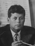 Sen. John F. Kennedy Attending a Labor Hearing Premium Photographic Print by Ed Clark