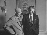 President Dwight D. Eisenhower Visiting with Religious Leader Billy Graham at the White House Premium Photographic Print