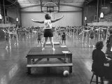 Calisthenics in the Davenport High School Gym Premium Photographic Print by Yale Joel
