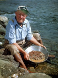 Howard Hartsell, 79, Pans Gold on Riverbank of the Yuba River. California Premium Photographic Print