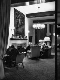 People Sitting in Lounge, at Hof Hotel Premium Photographic Print by Ralph Crane