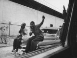 Street Scenes Showing Haitians Jeering on Automobiles During Political Crisis Premium Photographic Print