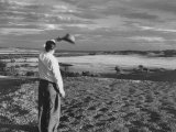 Dispossessed Sioux Indian Gazing across His Land Which Will Be Covered by the New Oahe Dam Premium Photographic Print