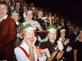 Female Mcmurray College Students with Painted Faces Cheer During Homecoming Week Football Game Premium Photographic Print by J. R. Eyerman