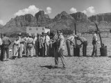 Prisoner Polygamists Lining Up after Chow Beneath the Jagged Arizona Cliffs Premium Photographic Print by Loomis Dean