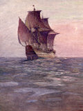 Painting of the Mayflower, Ship That Carried Pilgrims from England to New England Shore of America Premium Photographic Print