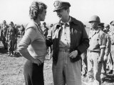 Korean War Correspondent Marguerite Higgins Speaking W. General Douglas Macarthur Premium Photographic Print