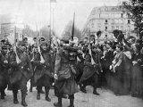 French Troops Being Cheered as They March Through Paris During WWI Premium Photographic Print