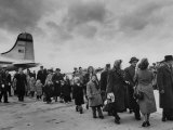 Hungarian Political Refugees Getting Off an Airplane Premium Photographic Print by Carl Mydans