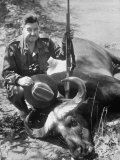 Gen. Curtis E. Le May on African Safari with a Water Buffalo He Shot Premium Photographic Print