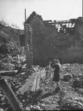 Woman Hanging Out Laundry Among the Ww II Ruins Premium Photographic Print by Ralph Morse
