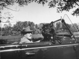 President Franklin D. Roosevelt Driving in His Convertible with His Dog Fala Through Hyde Park Photographic Print